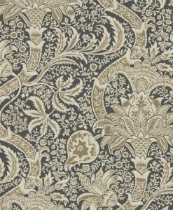 Indian Wallpaper from the Archives IV Collection by Morris & Co. in Charcoal & Nickel