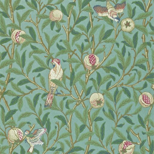 Bird & Pomegranate wallpaper from The Craftsman Wallpapers by Morris & Co. in Turquoise and Coral