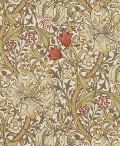 Golden Lily Wallpaper from The Craftsman Wallpapers by Morris & Co. in Biscuit and Brick