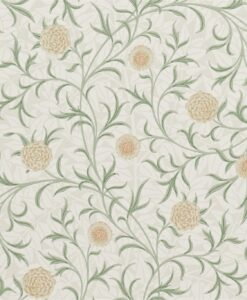 Scroll Wallpaper from The Craftsman Wallpapers by Morris & Co. in Thyme & Pear