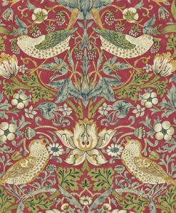 Strawberry Thief from the Craftsman Wallpapers by Morris & Co in Crimson and Slate