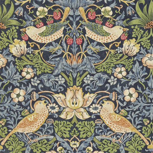 Strawberry Thief from the Craftsman Wallpapers by Morris & Co in Indigo and Mineral