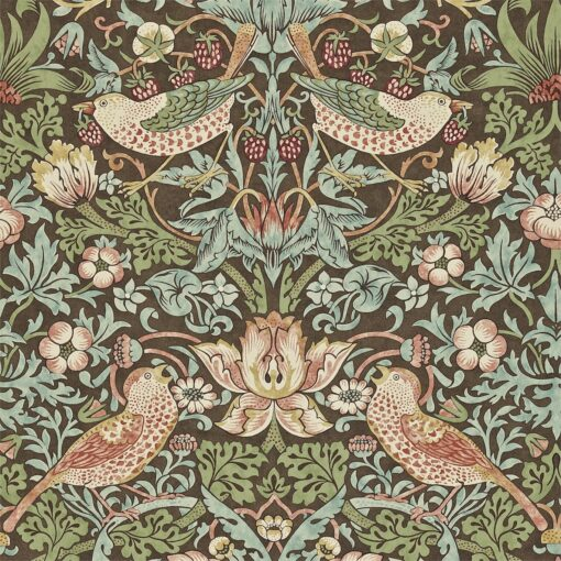 Strawberry Thief from the Craftsman Wallpapers by Morris & Co in Chocolate & Slate