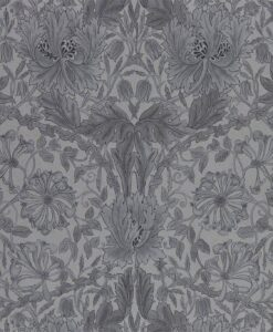 Pure Honeysuckle & Tulip wallpaper by Morris & Co in Black Ink