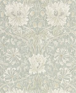 Pure Honeysuckle & Tulip wallpaper by Morris & Co in Grey Blue