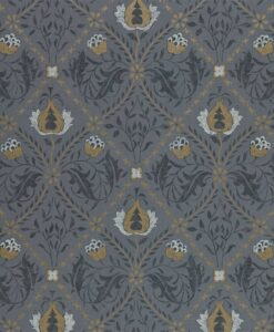 Pure Trellis Wallpaper from the Pure North Collection by Morris & Co. in black ink