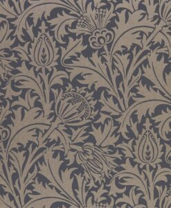 Pure Thistle Wallpaper by Morris & Co. from the Pure North Collection in Black Ink