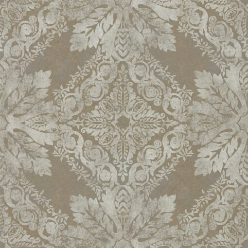 Medevi Mirror Wallpaper from the Phaedra Collection by Zophany in Antique Silver