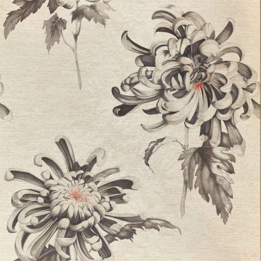 Evelyn Wallpaper from The Muse Collection by Zophany in Koi and Vine Black