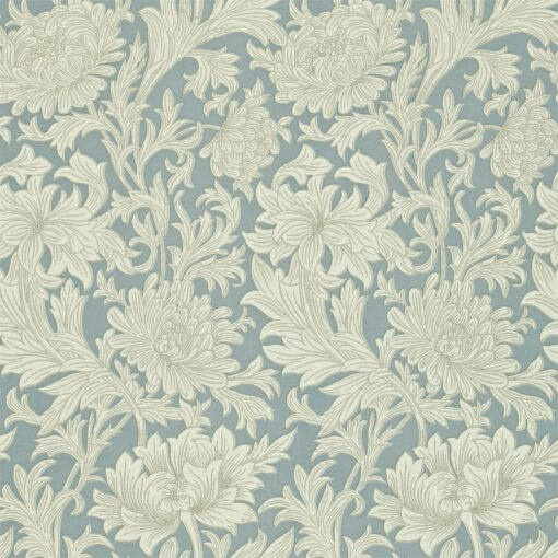 Chrysanthemum Toile Wallpaper by Morris & Co in China Blue and Cream