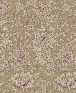 Chrysanthemum Toile Wallpaper in Grape & Bronze