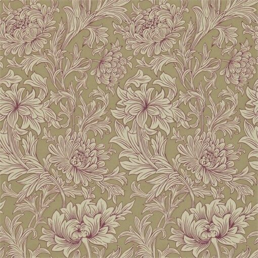 Chrysanthemum Toile Wallpaper in Grape & Bronze