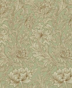 Chrysanthemum Toile Wallpaper in Eggshell & Gold