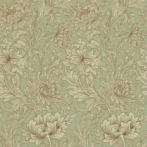 Chrysanthemum Toile Wallpaper in Eggshell & Gold