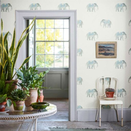 India Wallpaper featuring elephants from The Art of the Garden Collection by Sanderson Home