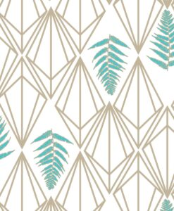 Phoebe Wallpaper - Teal and Beige