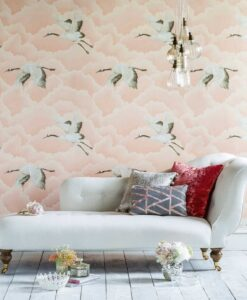 Cranes in Flight wallpaper from the Palmetto Collection by Harlequin
