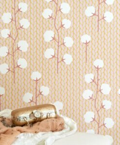 Sweet Cotton wallpaper in pink by Majvillan 108-01 detail