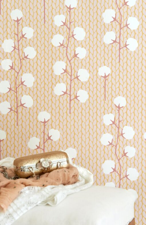 Sweet Cotton wallpaper in pink by Majvillan 108-01 detail