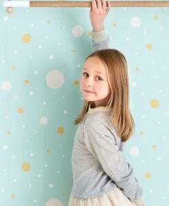 Confetti Wallpaper by Majvillan in Turquoise 117-02 B