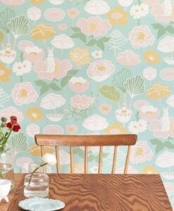 Little Light Wallpaper by Majvillan in turquoise 114-02