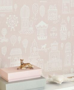 Small Town Wallpaper by Majvillan in Pink 118-03 B
