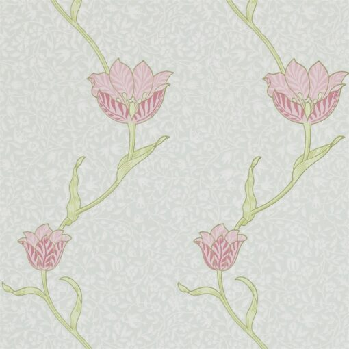 Tulip Wallpaper by Morris & Co in Porcelain and Pink