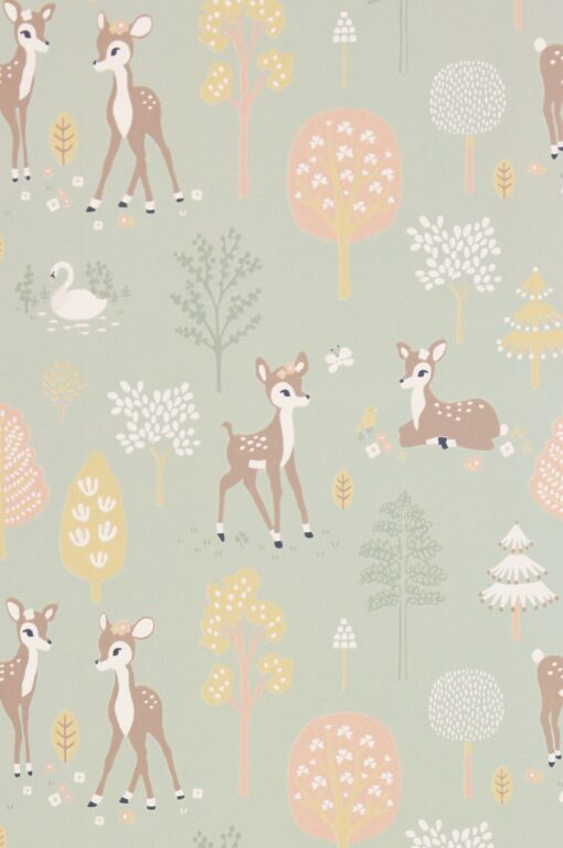Golden Woods Wallpaper by Majvillan in Dusty Green