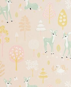 Golden Woods Wallpaper by Majvillan in Sweet Pink