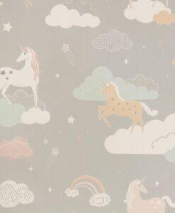 Rainbow Treasures Wallpaper by Majvillan in Mud grey