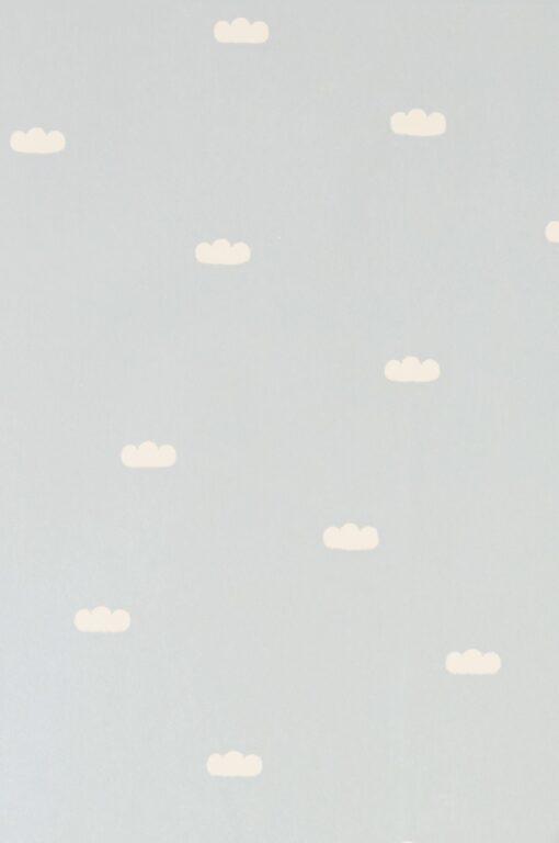 Dreamy Clouds Wallpaper in Dusty Blue by Majvillan