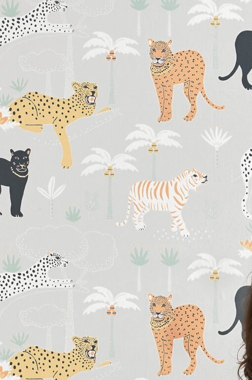 Black panther wallpaper in Light grey