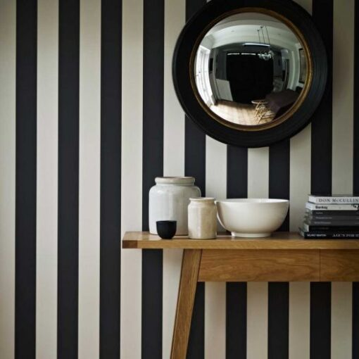 Salesbury Stripe Wallpaper - Charcoal