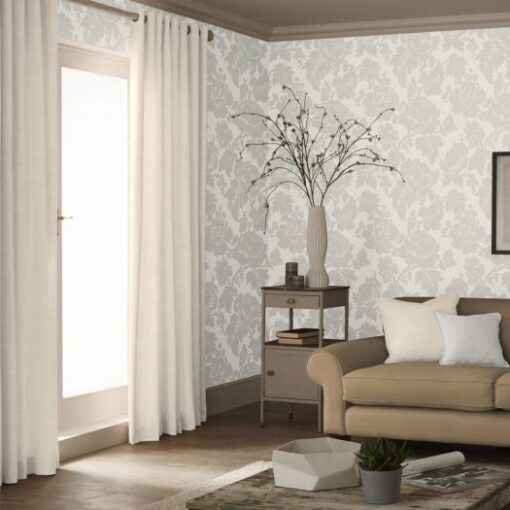 Wildflower Floral Damask Wallpaper - Natural
