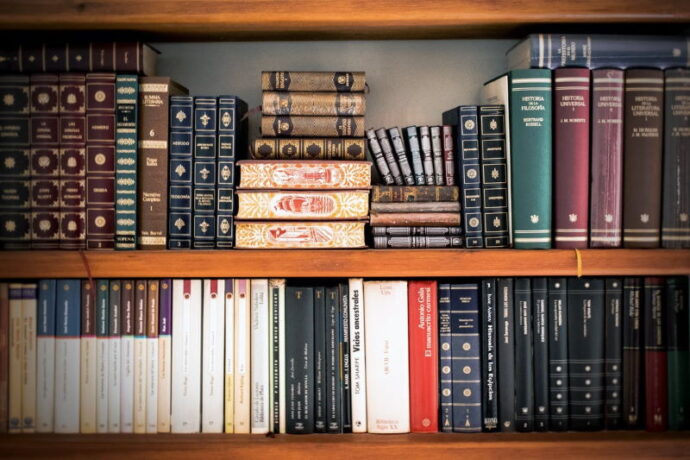 book shelf with a mix of books for decoration