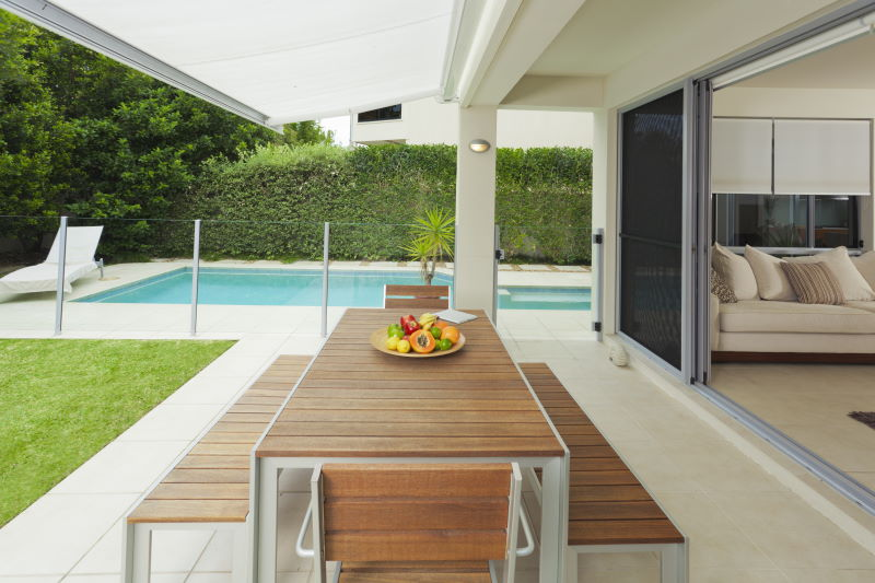 Paved outdoor area with swimming pool